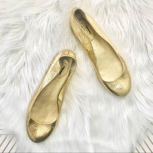 J. Crew   Kelcey Metallic Gold Crinkle Ballet Flat